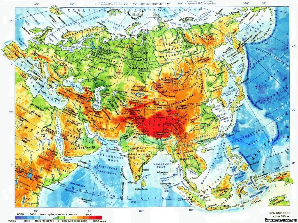 По запросу евразия физическая карта